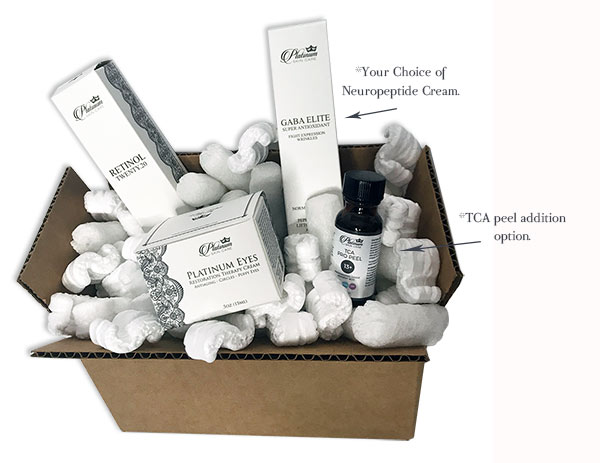 What's in the Box? 90 Day Antiaging Protocol: Retinol .20%, GABA Elite OR DermaSnap 8LM, Platinum Eyes Restoration Therapy and *If you added on the TCA 13% peel in a .5oz bottle. That is enough for 10 peels.