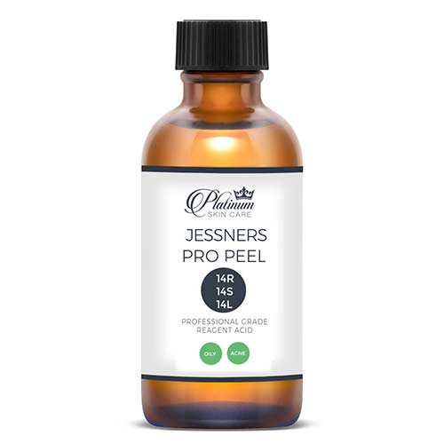 The traditional Jessner's peel is equal parts resorcinol, lactic and salicylic acids of 14%. It is the preferred peeling agent for oily, acne prone skin because of its safety. *No need for neutralization.  Jessners is well tolerated in all skin tones and types with proper prep. It is commonly alternated with TCA peels and strong retinoid usage. Vitamin A (Luminosity method) can also be applied after a Jessner's peel to increase flaking.  6-8 treatments will be administered in weekly or bi-weekly, then monthly to keep skin controlled.
