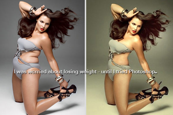 photoshopped before after swimsuit model